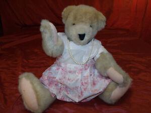 Alice Vanderbear Collection 1982 w/ Vanderbear Tea Party Dress & Pearls Stunning