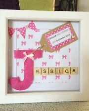 Handmade Crochet Gift Bunny Frame Boy Girl New Baby Gift Personalised Frame