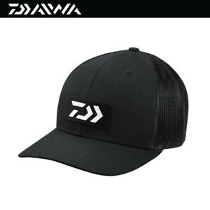 Daiwa D-VEC Embroidered Patch Trucker Fishing Cap Hat -Black/Black (3823)