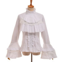Vintage Gothic Victorian Flare Sleeve Blouse Lolita Lace Up Ruffle Collar Shirt