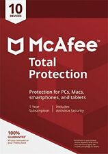 McAfee Total Protection 2018 10 User/PC/Devices Internet Security