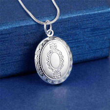 Fine 925 sterling Silver oval Photo frame Necklace Jewelry Fashion women