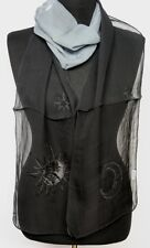 Gothic Astro Scarf Stole Sun Moon Stars Black Embroidered Transparent