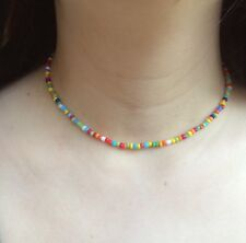 Mixed Multi Coloured Seedbead Choker Necklace Boho Hippie Festival Beach