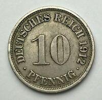 Dated : 1912 F - Germany - 10 Pfennig - German Coin - Wilhelm II