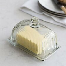 Vintage Quality Glass Premium Butter Dish with Lid Transparent 11.5 x 17x 10.5cm