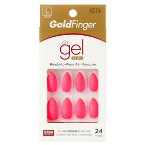 Kiss Goldfinger Gel Nails Matte Shine Glitter Medium Squoval Stiletto Neon Color