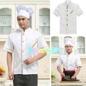 Pro Kitchen Chef Cooker Working Uniform Waiter Short Sleeve Coat Jacket White LG