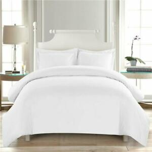 King Size 1000 Thread Count Egyptian Cotton 3 PC Duvet Cover Set White Solid