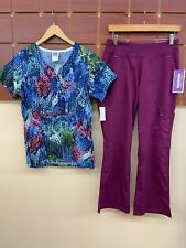 New Wine Print Scrubs Set With Small Top & Healing Hands Small Petite Pants Nwt