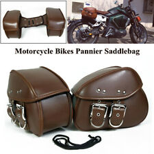 Left & Right PU Leather Motorcycle Bike Pannier Saddlebag Luggage Storage Bags