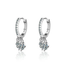 Women's 925 Sterling Silver Party Charm Rhinestone Crystal Ear Hoop Earrings