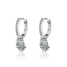 New Design Solid 925 Sterling Silver Charm Dazzling Crystal Ear Hoop Earrings