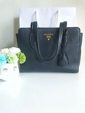 BNEW Prada 1BG112 Vitello Phenix Red Tote Bag BALTICO (DARKBLUE) color AUTHENTIC