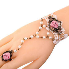 FT- Fashion Jewelry White Lace Rose Flower Bracelet Faux Pearl Chain Ring Dreame