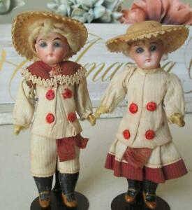 "~ Antique Doll Pair Mignonette Gebruder Kuhnlenz German 5.5"" ~ Petite"