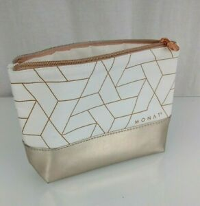 Monat Gold Cream Geo Canvas Makeup Tote Bag Zip Zippered