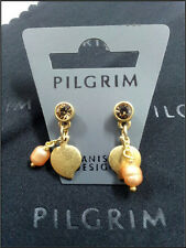 NEW PILGRIM GOLD PLATED EARRINGS PEARLS SWAROVSKI CRYSTALS HEART LEAF COLLECTION