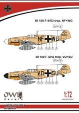 OWL DECALS 1/72 Messerschmitt Bf-109F-4/R3 tropical de reconnaissance # S7237