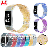 Replacement Glitter Bling Silicone Watch Band Strap Bracelet For Fitbit Charge 2