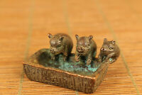 Lovely bronze hand casting three pig propitious statue netsuke table decoration