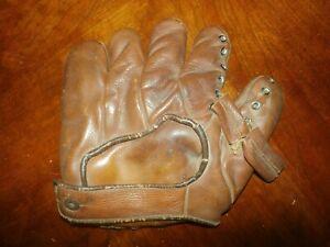 Vintage Antique Leather Baseball Glove Five Finger Mitt GW Co S17 Charlie Keller