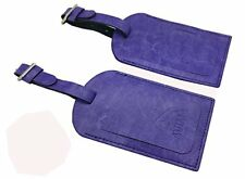 AVIMA BEST Premium Leather Luggage Bag Tags 2 Pieces Set - Purple