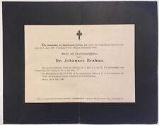 Johannes BRAHMS (Composer): Original Death Announcement
