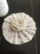"""4"""" Ivory Burlap Lace Flower Tan Ticking Shabby Chic Wedding Country Table"""