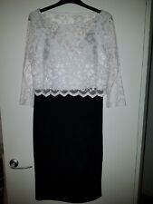 Nightingales Layered Dress, Black/Cream, Size 10, Lined, Lace Overlay Top, Party