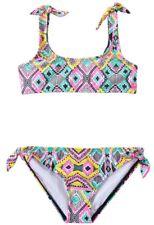 Billabong WILD WAVES Girls Youth Bandeau Top Bikini Set 10 Multi NEW