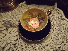 ANSLEY TEA CUP AND SAUCER. Signed by J.A. BAILEY.