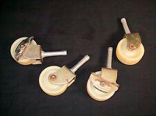 Vtg Lot 4 Casters Metal Wood Plastic Wheels Parts Restoration Patina Rustic Set