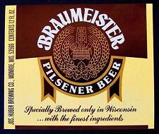 Jos Huber Brewing BRAUMEISTER PILSENER BEER label WI 12oz Var. #2