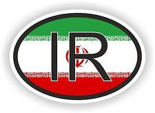 Iran Ir code pays drapeau Autocollant OVAL avec pare-chocs Autocollant Voiture Vélo Tablette
