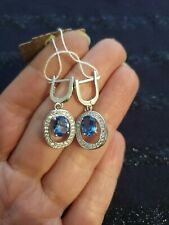 925 Silver Blue Spinel And Zircon Earrings. Blue stone.