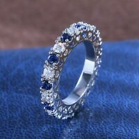 14K White Gold Certified 2.00 Ct Diamond Eternity Band Excellent Round Shape