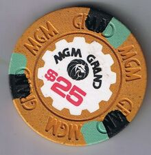 MGM Grand $25.00 House Mold Mustard Casino Chip Las Vegas Nevada 1970