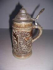 VINTAGE GERZ SMALL LIDDED BEER STEIN WITH TAVERN SCENE MADE IN WEST GERMANY