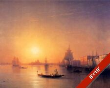 SUNSET IN VENICE ITALY SHIPS SAILBOAT SEASCAPE PAINTING ART REAL CANVAS PRINT