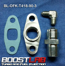 "T3/T4 Turbo Oil Fitting Kit (-3AN x 1/8"" 90* Feed) Fits ALL Square Drain Turbos"