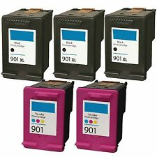 5 pk 901XL 901 Black & Color Rem. Ink Set For OfficeJet G510a G510g G510n 4500