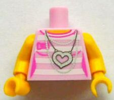 LEGO - Minifig, Torso White Stripes w/ Silver Chains & Heart Necklace - Pink