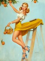 Picking Peaches Retro Pin Up Girl Home Decor Canvas Print A4 Size (210 x 297mm)