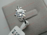 18K White gold 1 ct Round cut Diamond 6 prongs Solitaire Ring size N