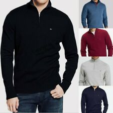 QUARTER ZIP NECK Tommy Hilfiger 100% Cotton Knit Pullover Jumper Sweatshirt