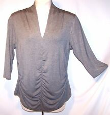 NEW 58 Tag XL Rafaella Gray w Sliver Shimmer Stretchy Top ¾ Sleeve Ruched Front