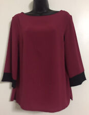Ex DP Size 10-20 Wine Red Black Contrast Casual Formal Work Shirt Blouse Top