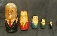 Hand Painted Wooden Nesting Dolls Yeltsin Gorbachev 5 Dolls Total Russia