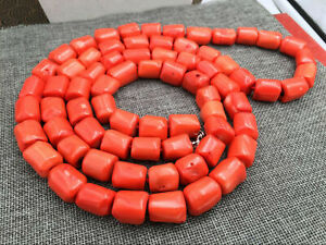 Natural Orange Coral Huge 16-18mm Irregular Bead Necklace Chain Gemstone 18/36''